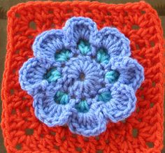 Periwinkle Flower Square In Your Face! Crochet Afghan Patterns and Crochet Granny Squares Crochet Afghans, Crochet Squares Afghan, Crochet Blocks, Granny Square Crochet Pattern, Crochet Granny, Crochet Motif, Crochet Yarn, Crochet Flowers, Free Crochet