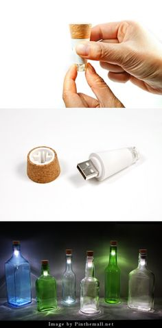 Bottlelight - a usb rechargeable LED light that fits into any bottle top turning it into a lamp. Need!