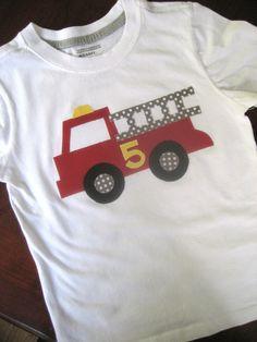 Fire truck shirt. $20.00, via Etsy.