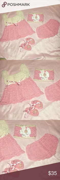 New Born baby suit (handmade) Hand made, pink/white suit, excellent conditions HANDMADE Dresses