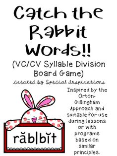 Inspired by the Orton-Gillingham Approach. Use this game as a way to practice reading two syllable vccv words. Print on card stock and laminate. Extend the game by dividing the words with an expo marker. Worksheet included. Great for use during literacy centers, phonics lessons, and/or tutorial sessions.