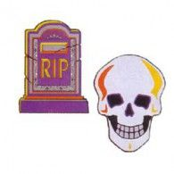 Cutout Mini Skull and Tombstone 2sided Pkt6 $8.95 A19741/99
