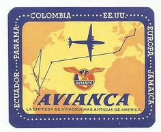 AVIANCA AIRLINES luggage label
