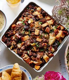 Apple walnut stuffing --- E says it's the best stuffing. Turkey Stuffing Recipes, Best Stuffing, Stuffing Recipes For Thanksgiving, Thanksgiving Side Dishes, Holiday Recipes, Christmas Recipes, Holiday Meals, Thanksgiving 2016, Thanksgiving Treats