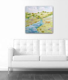 Modern Country painting lime pink aqua colorful by Marendevineart