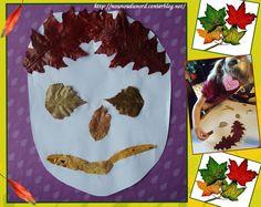 tête réalisé avec des feuilles d'automne