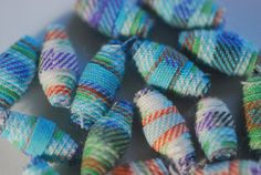 Handmade fabric beads using upcycled fabric by BeadNutters on Etsy, £3.50