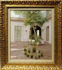 José Ortega : Courtyard in Seville. Medium: Oil on canvas Measurements (cm): 83x72 Canvas measurements (cm): 61x50 Interior frame: Yes. $1,945.23