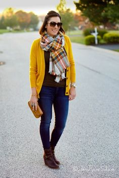 Cute fall look with mustard yellow cardigan and plaid blanket scarf