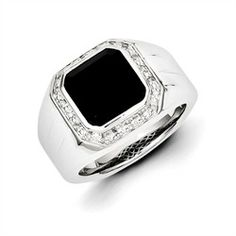 """Sterling silver Diamond and square Black Onyx men - 25 Men's Rings In Black's ring. .08 ctw Diamonds - genuine gemstones Measures approx 5/8"""" wide* Weighs approx 15 grams* Comes in a nice gift box"""