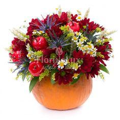 Sezonul dovlecilor pliiini cu flori este aici! 🍁 Comanda online cele mai frumoase aranjamente florale de toamna, dovleci cu flori 🍁! Aur, Fruit, Plants, Flora, Plant