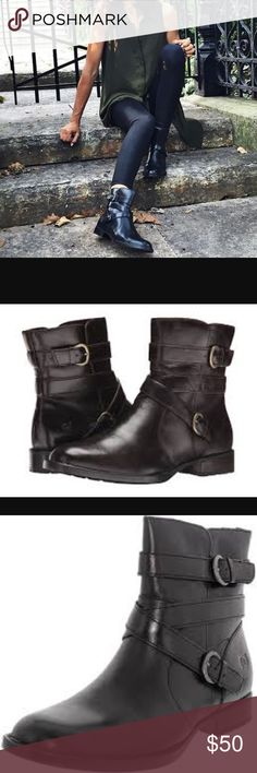 NWOT Born McMillan black ankle boots Never been worn Born McMillan black ankle/calf boots with buckles. Almost looks like combat boot. Excellent condition. 1 inch heel. 8 3/4 inches from bottom of heel to top of boots Born Shoes Combat & Moto Boots