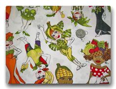 VHTF OOP Tossed Follies by Loralie Harris Colorful Veggie Ladies - Fabric By The Yard. $12.95, via Etsy.