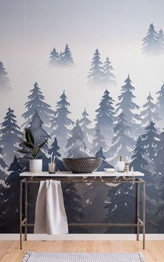 Browse & shop our range of watercolor wallpaper. Create a stunning interior with our amazing abstract & ombre watercolor wall murals. Tree Wallpaper Mural, Forest Wallpaper, Watercolor Wallpaper, Watercolor Walls, Grey Wallpaper, Painting Wallpaper, Blue Wallpapers, Feature Wall Design, Wall Murals