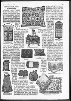 Clothes brush holder with Art Nouveau embroidery, above left.   (visit site for bigger picture)  Gracieuse. Geïllustreerde Aglaja, 1908, aflevering 21, pagina 329
