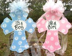 Baby Announcement Cross - Bronwyn Hanahan Art on Etsy, $55.00