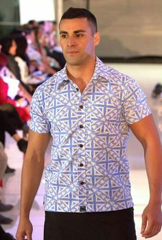 Pita wearing eveni shirt for fashion show Polynesian Designs, Fashion Show, Women's Fashion, Aloha Shirt, Different Dresses, Dance Costumes, Boy Outfits, Designer Dresses, Men Casual