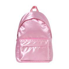 サテンリュック ❤ liked on Polyvore featuring bags, backpack, pink, knapsack bags, pink bag, backpacks bags, bubble bags and day pack backpack