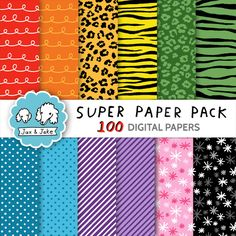 Clipart: Super Paper Bundle 100 Digital Papers for Personal and Commercial Use $