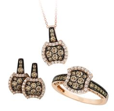 Indulge in chocolate... diamonds that is. This lovely Le Vian chocolate diamond, ring, pendant, and earring set can be found at Greenberg's Jewelers.