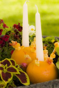 Summer Solstice Celebration - Oranges used as candle holders.