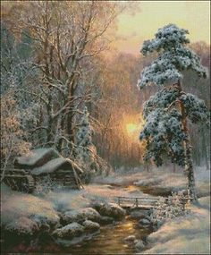 Cabin in the snow art beautiful landscapes, beautiful paintings, dream pict Winter Landscape, Landscape Art, Landscape Paintings, Winter Painting, Winter Art, Winter Snow, Painting Art, Snow Art, Magic Forest