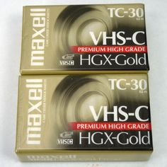 (2) Maxell TC-30 VHS-C Premium High Grade Tapes HGX-Gold NEW SEALED Lot of 2 #Maxell