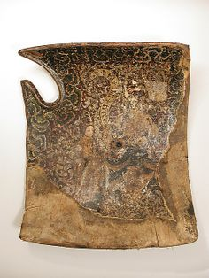 Tournament or Cavalry Shield (Targe)  Date: 15th century Culture: German Medium: Wood, canvas, leather, gesso, silver leaf, polychromy, iron