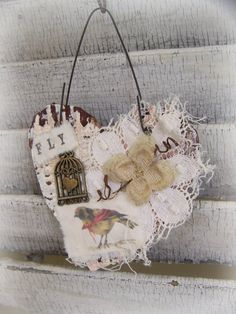 Handmade Spring Decor Shabby White Spring Bird by QueenBe on Etsy