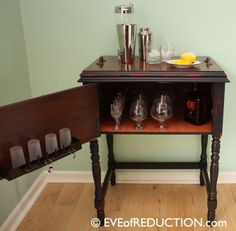 Eve of Reduction {repurposed sewing cabinet to bar cart-going to make a bar cart some day}.  I have a million of these, great IDEA!