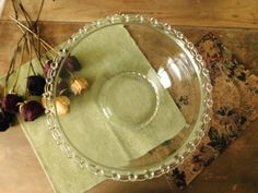 Large Glass Bowl with Decorative Scalloped by LittleDixieVintage