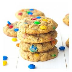 Monster M&M Peanut Butter Cookies foodgawker ❤ liked on Polyvore featuring food and drink