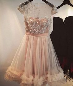 2017 Sexy A Line Illusion Neckline Beading Homecoming Dress Tulle Skirt Prom Dress - https://www.luxury.guugles.com/2017-sexy-a-line-illusion-neckline-beading-homecoming-dress-tulle-skirt-prom-dress/