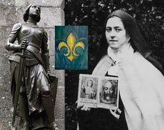 Sainte Jeanne d'Arc près de la chapelle de Mont Saint-Michel et Sainte Thérèse!