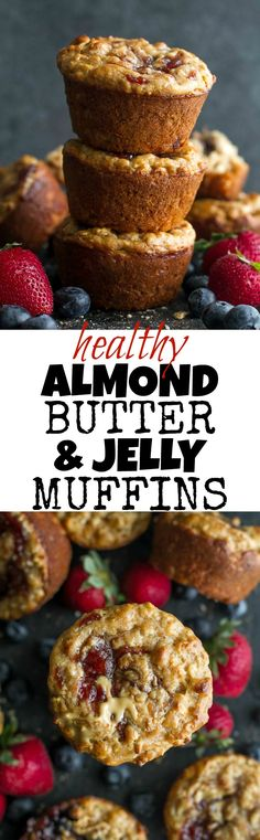 You won't find any butter or oil in these healthy Almond Butter & Jelly Muffins! The recipe calls for Greek yogurt to keep them soft and tender, with swirls of almond butter and jelly to add tonnes of flavour. | runningwithspoons.com