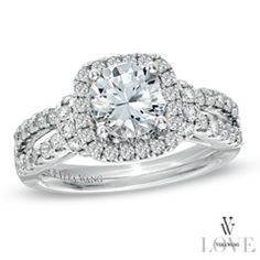 Vera Wang LOVE Collection 2 CT. T.W. Diamond Split Shank Engagement Ring in 14K White Gold... This is it!
