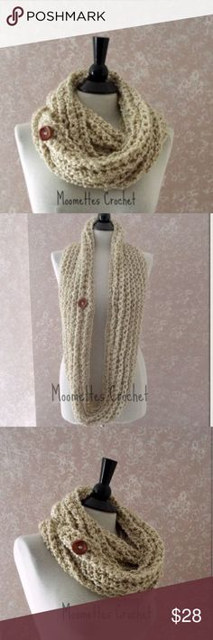 Handmade Crochet Beige Circle Scarf This is a New preppy crochet infinity scarf with wooden button. Wide cowl neck cream infinity scarf accessory with red wood button.  Handmade crochet soft chunky neck warmer. This long scarf is created with soft yarn in beige, off-white,  making it a stylish cool weather scarf for fall fashion, winter or spring.  These colors will go with almost anything for womens, ladies, teens  Red Chestnut Brown Wooden Button (lead free)  50 inches long by 4 inches…