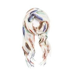 Drape this boho feather scarf over your shoulders for a splash of print and color. When it gets too warm, tie it around your purse handles for an unexpected accessory! (Stitch Fix Alicia Feather Print Wrap Scarf)