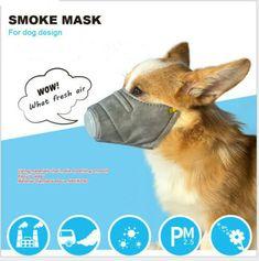 shengyuze Dog Mask, Breathable Pet Filter Anti Smoke Fog Pollution Muzzle Dog Face Mouth Mask - Grey S Nylons, Smoke Mask, Dog Mask, Anti Smoking, Respirator Mask, Pet Fashion, Dog Wear, Mouth Mask, Medium Dogs