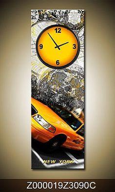 Wandklok op canvas New York taxi - Karo-art