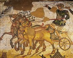 Italy, Sicily Region, Enna province, Piazza Armerina, Villa Romana del Casale, Gymnasium, mosaic with circus scenes, four-horse chariot race, detail (4th century ad)