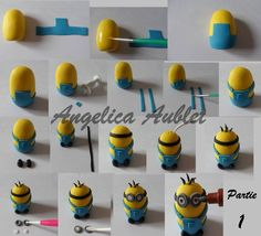 I like this straight forward method of making a minion. He looks ready to cause mischief! Fondant Minions, Torta Minion, Bolo Minion, Minion Cupcakes, Cupcake Cakes, Minion Theme, Minion Birthday, Minion Party, Birthday Cakes