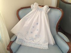 Christening/ Blessing gown white with blue by ClassyBabyCreations