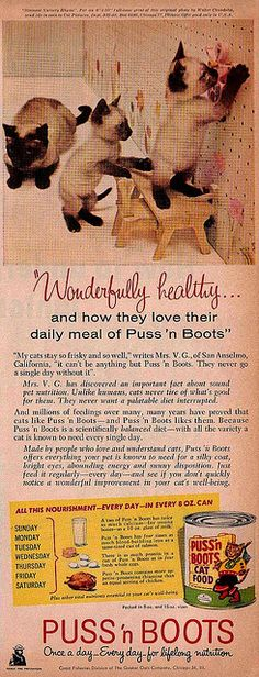 """Puss'n Boots cat food vintage advertisement from """"Better Homes and Gardens"""" magazine, September 1959"""