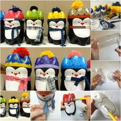 Plastic Bottle Penguins - 20 Genius DIY Recycled and Repurposed Christmas Crafts manualidades diy crafts Recycled Christmas Decorations, Xmas Crafts, Diy Christmas Ornaments, Christmas Art, Christmas Projects, Diy Crafts, Plastic Bottle Crafts, Recycle Plastic Bottles, Soda Bottle Crafts