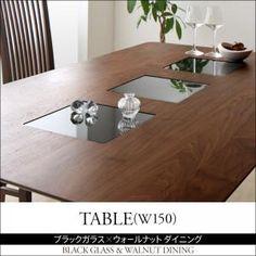 ブラックガラス×ウォールナットダイニング【Scranton】スクラントン/テーブル(W150)