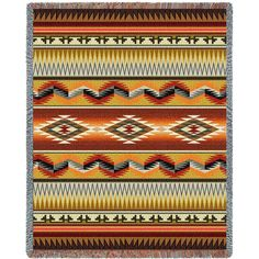 Southwest Geometric Flame Art Tapestry Throw