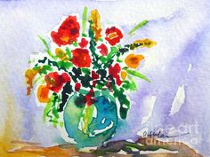 Colorful Flowers in a Vase -  Prints & Greeting Cards Available
