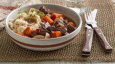 Slow-Cooker Beef Bourguignon Freezer Meal Cooking the beef in the slow cooker yields tender meat that is packed with flavor! Make it a meal by serving this stew with Betty Crocker™ mashed potatoes. Best Slow Cooker, Crock Pot Slow Cooker, Crock Pot Cooking, Slow Cooker Recipes, Crockpot Recipes, Cooking Recipes, Soup Recipes, Slower Cooker, Crock Pots