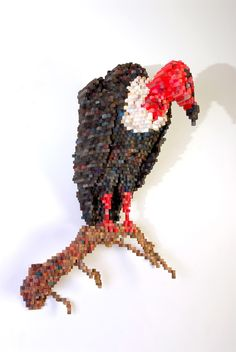 """""""Vulture"""" (2007)  Plywood, ink, and acrylic paint   44 x 33 x 27 inches"""